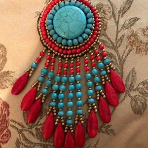 Jewelry - Necklace, turquoise and coral style